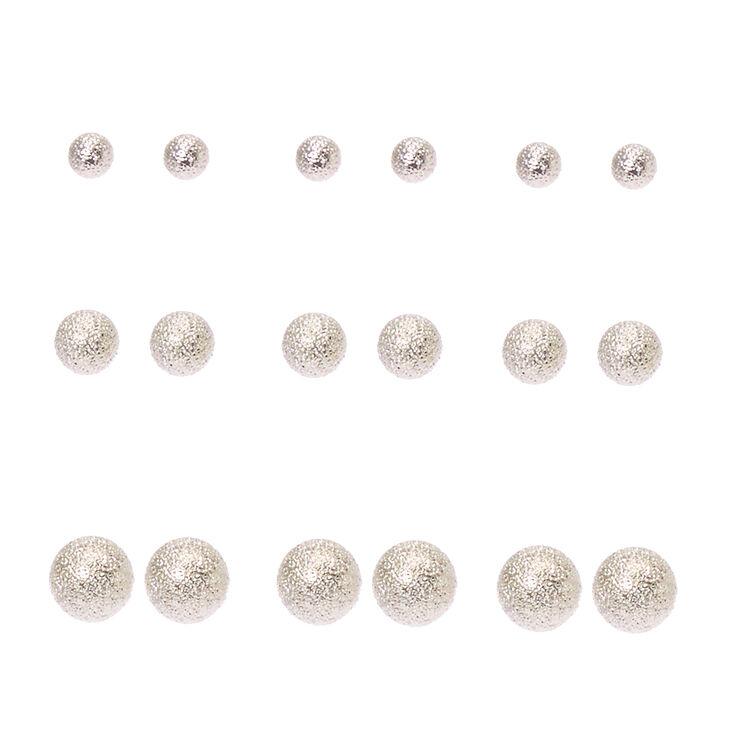 Graduated Sandblasted Silver Ball Stud Earrings,