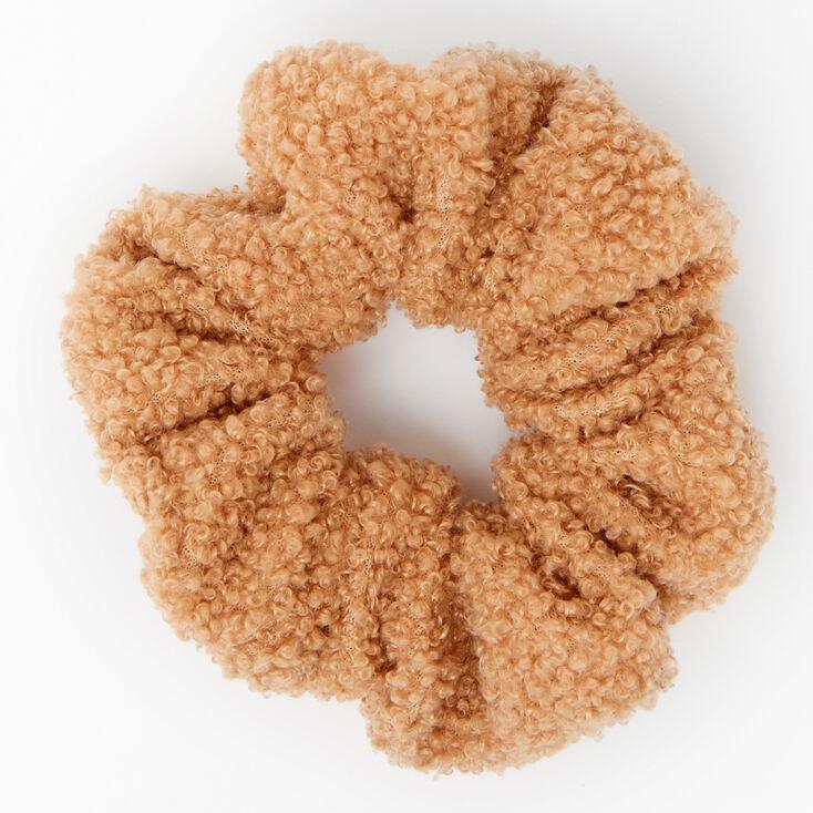 Medium Teddy Hair Scrunchie - Camel,