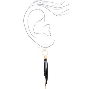 "Gold 4"" Skinny Beaded Feather Drop Earrings - Black,"