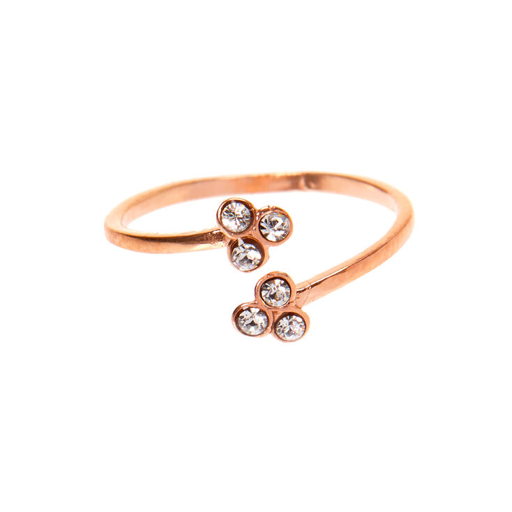 Sterling Silver Rose Gold Open Crystal Toe Ring,