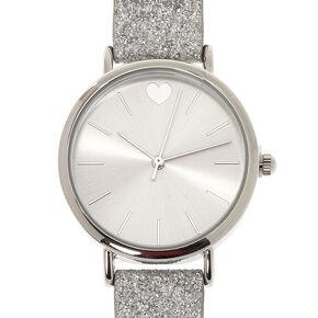 Silver Glitter Classic Watch,