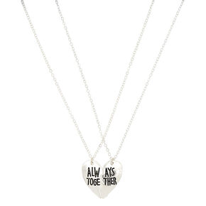 Silver Best Friends Always Together Pendant Necklaces - 2 Pack,