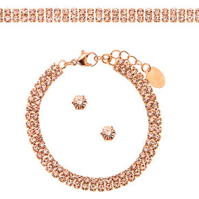 Rose Gold Rhinestone Choker Jewelry Set - 3 Pack,