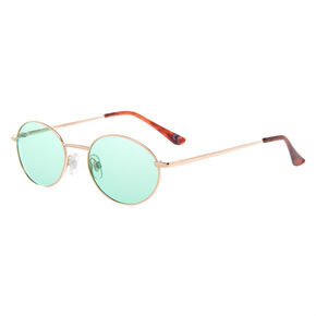 Gold Oval Sunglasses - Mint,