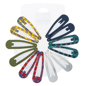 Plaid Snap Hair Clips - 12 Pack,