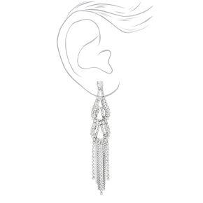 Silver Rhinestone & Chain Link Fringe Drop Earrings,