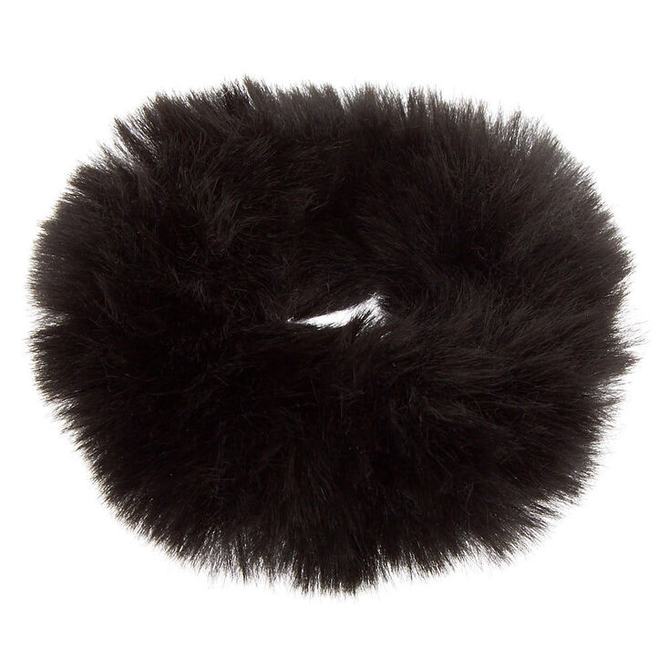 Medium Faux Fur Hair Scrunchie - Black,