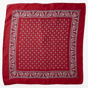 Floral Paisley Silky Bandana Headwrap - Burgundy,