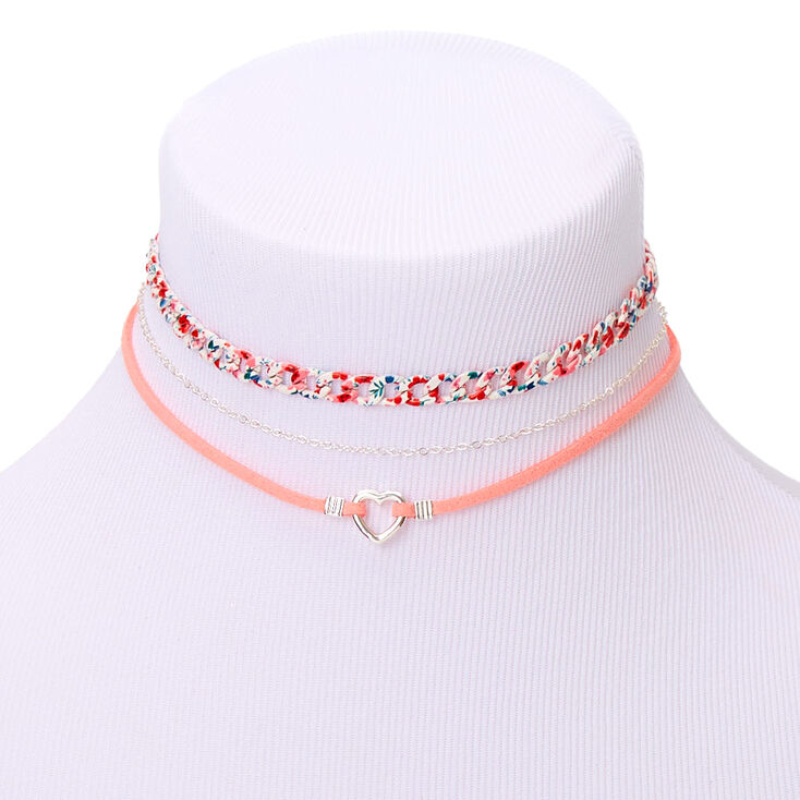 Romantic Floram Mixed Choker Necklaces - Pink, 3 Pack,