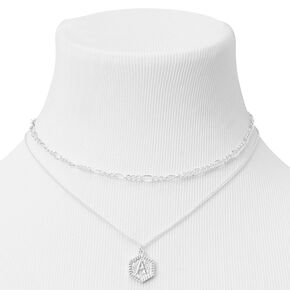 Silver Initial Multi Strand Choker Necklace - A,