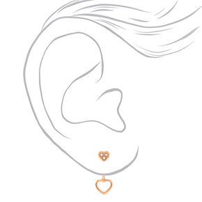 18kt Rose Gold Plated Heart Stud Earrings,