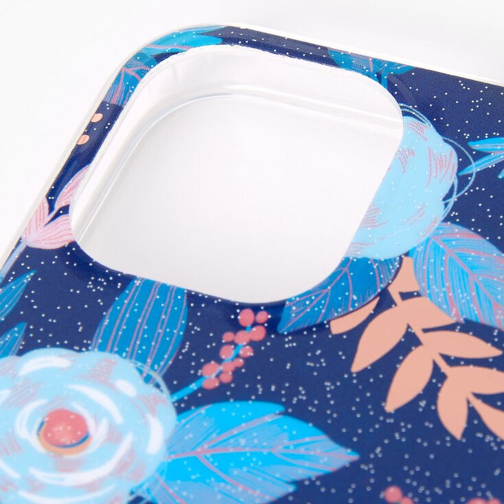 Blue Floral Protective Phone Case - Fits iPhone 12 Mini,