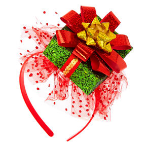 Glitter Present Headband - Red,