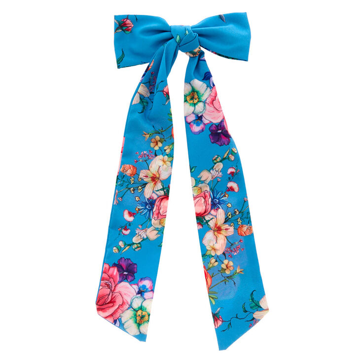 Rose Draped Hair Bow Clip - Blue,