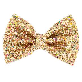 Cake Glitter Mini Hair Bow Clip - Gold,