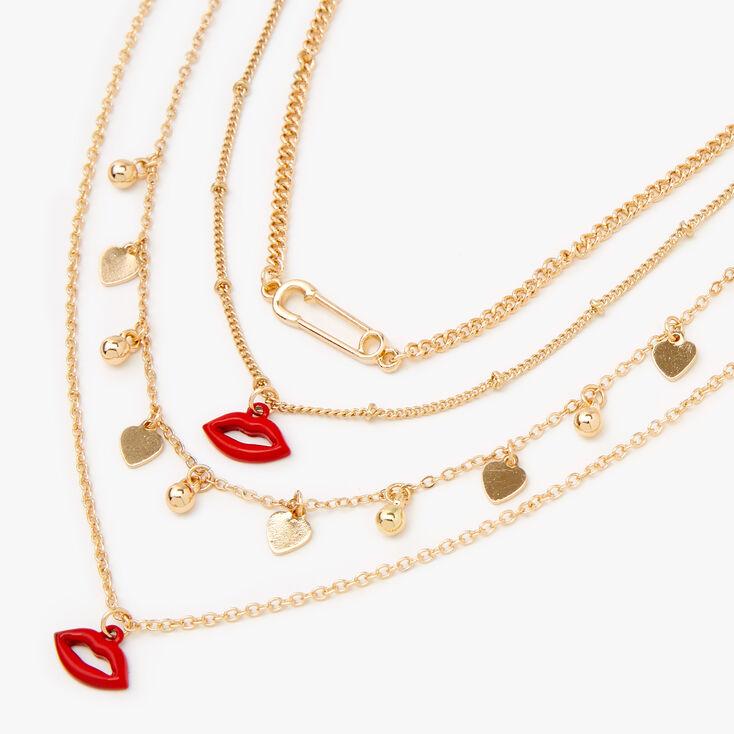 Gold Hearts & Lips Multi Strand Necklace,