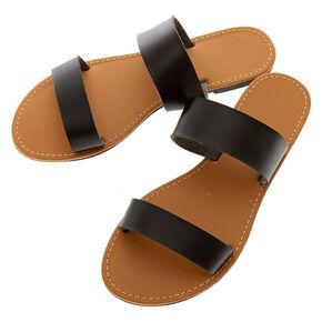 Double Strap Sandals - Black,