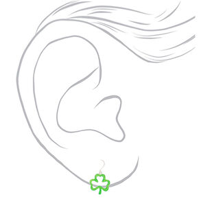 "Silver 1"" Glitter Shamrock Drop Earrings - Green,"