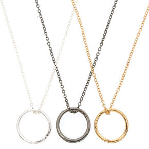 Best Friends Mixed Metal Ring Pendant Necklaces - 3 Pack,