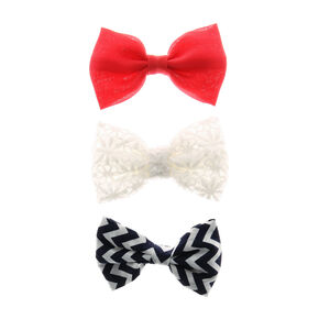 Mini Navy Chevron, Coral & White Floral Lace Bow Hair Clips,