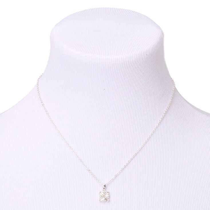 Silver Cubic Zirconia Pendant Necklace,
