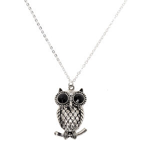 Silver Owl Long Pendant Necklace,