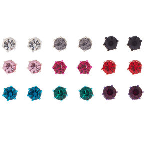 Rainbow Crystal Stud Earrings - 9 Pack,