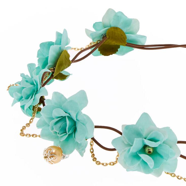 Mint Green Flower & Gold Faux Pearl Hair Flower Crown,