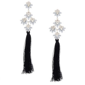 "5"" Tassel Crystal Clip On Drop Earrings - Black,"