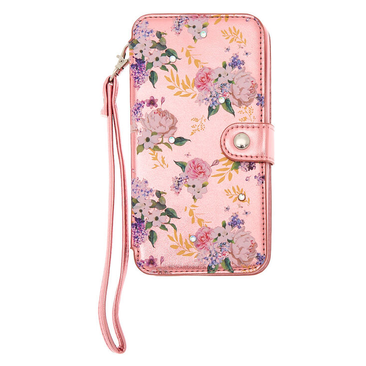 Metallic Pink Floral Folio Phone Case - Fits iPhone 6/7/8 Plus,