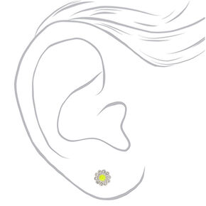 Silver Embellished Flower Stud Earrings - Yellow,