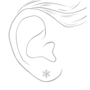 Sterling Silver Crystal Snowflake Stud Earrings - White,