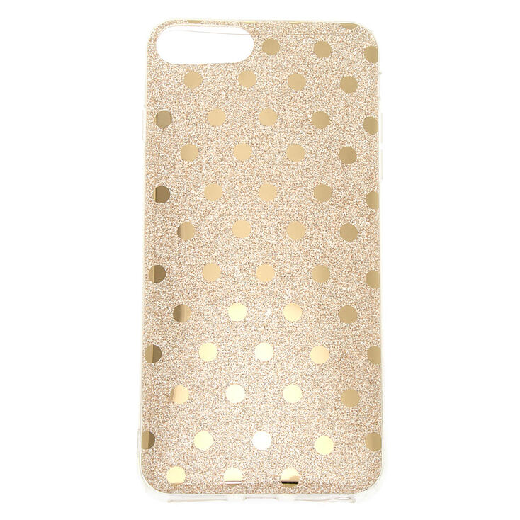 Gold Glitter Polka Dot Phone Case - Fits iPhone 6/7/8 Plus,