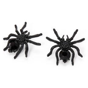 Large Spider Stud Earrings - Black,