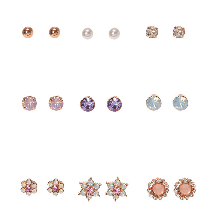 Rose Gold Tone Flower Charm Stud Earrings,