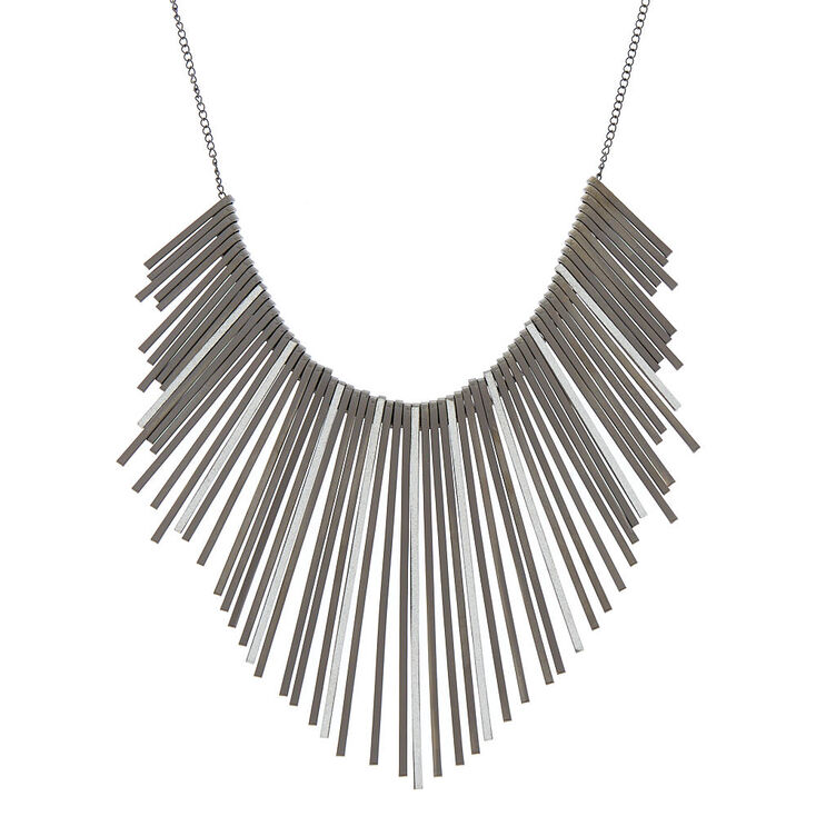 Black Glitter Bar Bib Statement Necklace,