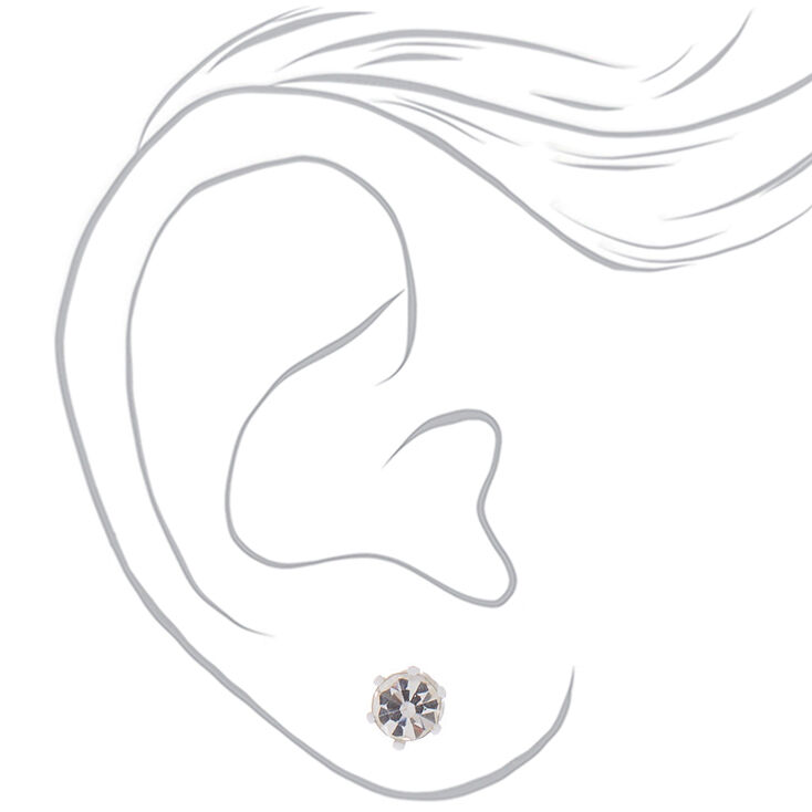 Silver Crystal Stud Earrings - Rainbow, 9 Pack,
