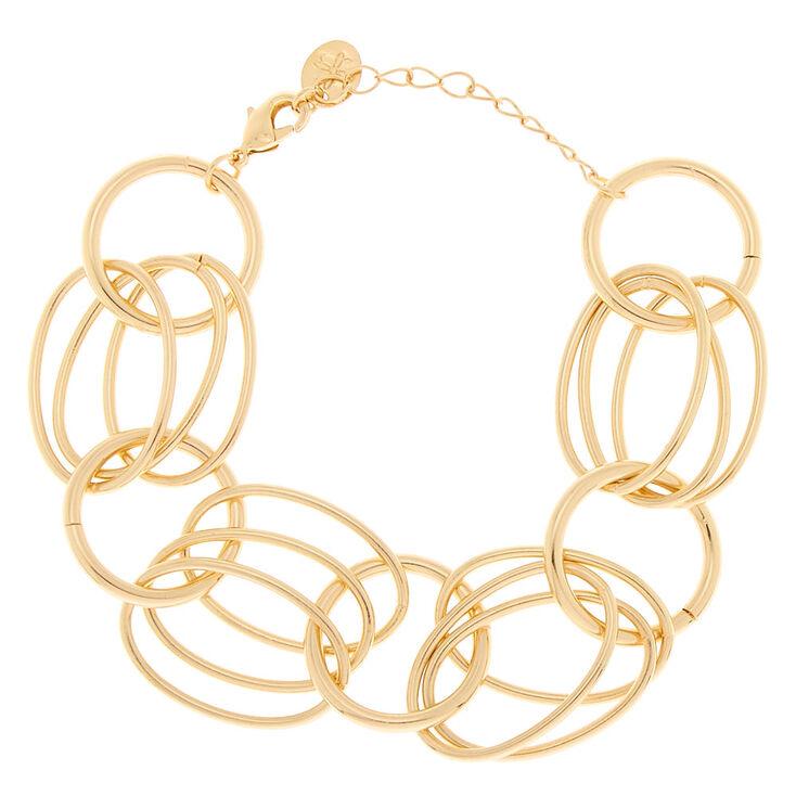 Gold Layered Link Statement Bracelet,