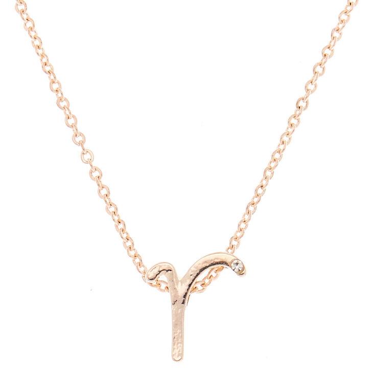 Rose Gold Cursive Initial Pendant Necklace - R,