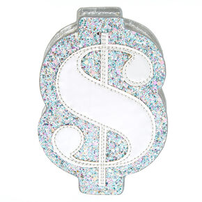 Glitter Dollar Sign Coin Purse - Blue,