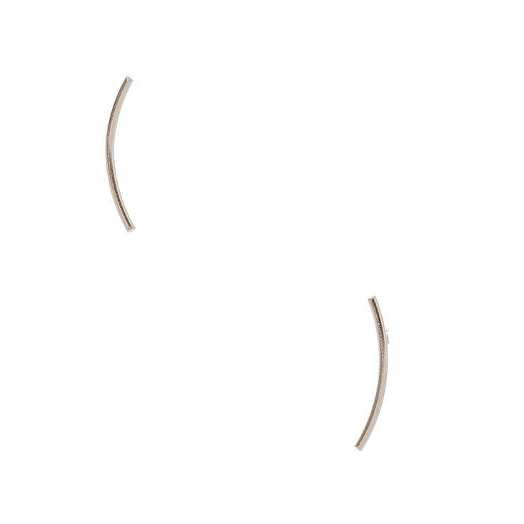 Sterling Silver Curved Bar Stud Earrings,