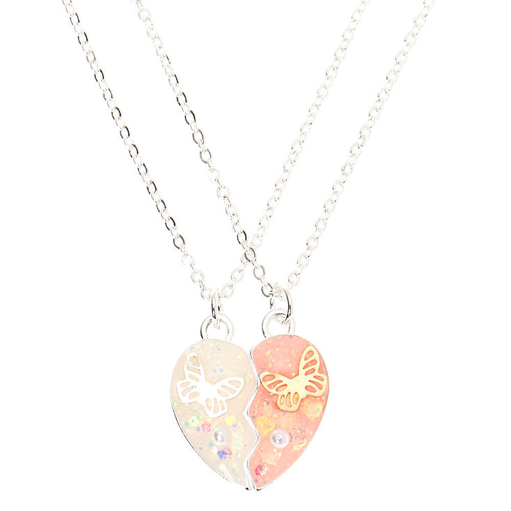 Butterfly Heart Pendant Necklaces - 2 Pack,