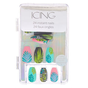 Summer Palm Leaf Coffin Faux Nail Set - 24 Pack,