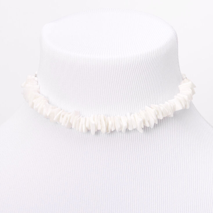 Vintage Style Jewelry, Retro Jewelry Icing Puka Shell Cord Choker Necklace - White $9.99 AT vintagedancer.com