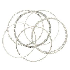 Silver Glitter Twist Bangle Bracelets - 7 Pack,