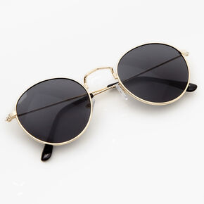 Gold Round Sunglasses - Black,