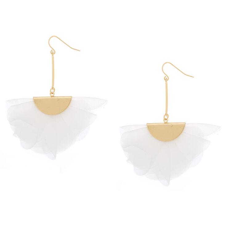 """2.5"""" Chiffon Fan Drop Earrings - White,"""