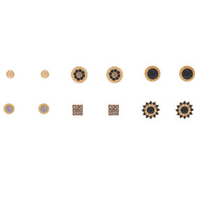 Gold Mixed Stud Earrings - 6 Pack,