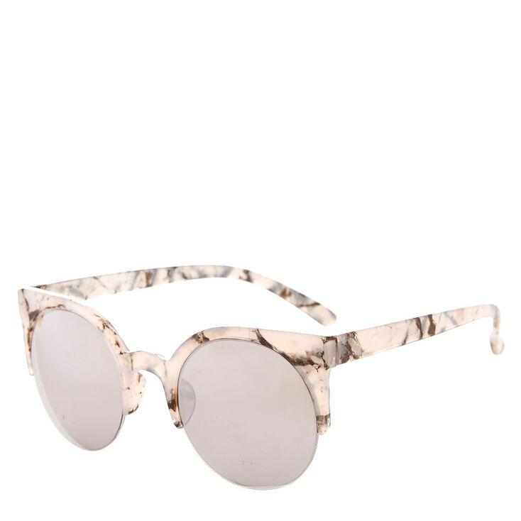 Round Gray Marbled Sunglasses,