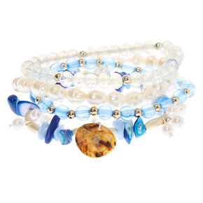 Silver Puka Stone Stretch Bracelets - Blue, 4 Pack,